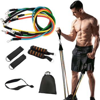 11pcs/pack Elastic Resistance Bands Set Fitness Pull Rope Workout Exercise Training Bands with Door Anchor Handles Ankle Straps resistance band 11pc set with door anchor ankle straps foam handles