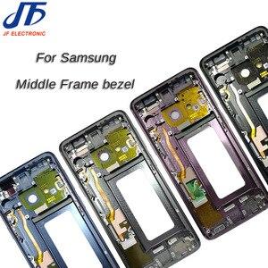 Image 1 - 1Pcs Für Samsung Galaxy S9 + S9 Plus G960f G965F Gehäuse LCD Display Mittleren Rahmen Midframe Lünette Chassis Platte