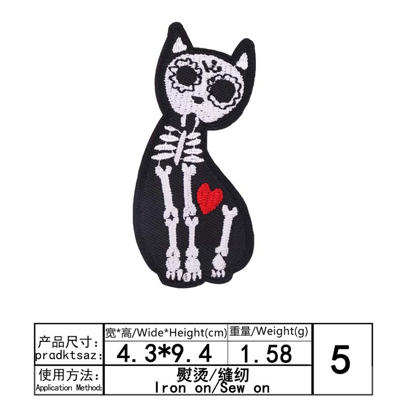 Embroidery Patch Cloth Stickers Chapter Skull Rose Cat Clothes Decoration Sewing Applique Sew Fabric Badge Apparel Accessories