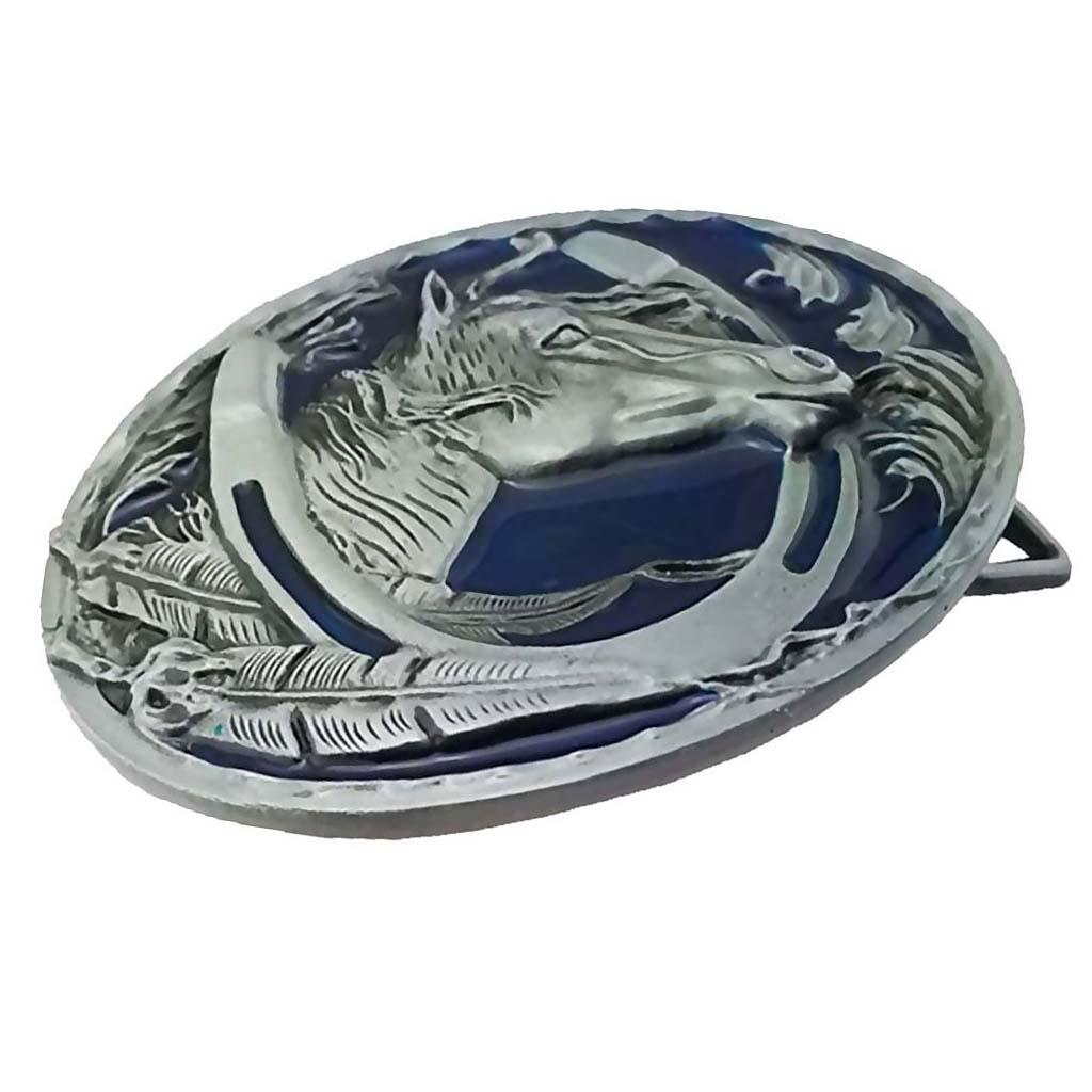 Zinc Alloy Belt Buckle Engraved Animal Equestrian Western Horse Head Oval Cowboy