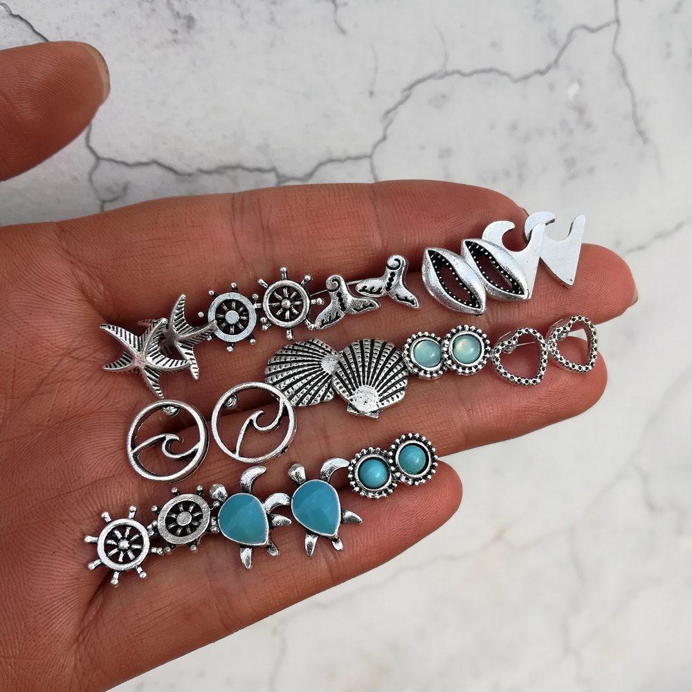 Boho Ocean Beach Sea Earrings Set Vintage Rudder Starfish Dolphin Tail Turtle Shell Stud Earrings for Women Brincos