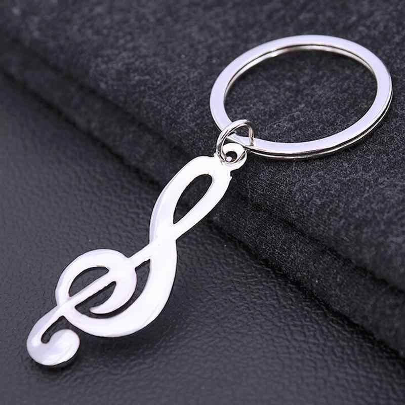 1PCS ผู้ชายผู้หญิง Auto Key CHAIN สำหรับรถโลหะเพลงสัญลักษณ์ Key Ring Key Trinket Silver Plated Musical หมายเหตุ