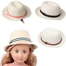 18 Polegada americano boneca meninas chapéu arroz branco mão-tecido palha chapéu recém-nascido brinquedos do bebê acessórios caber 43 cm menino bonecas presente c499