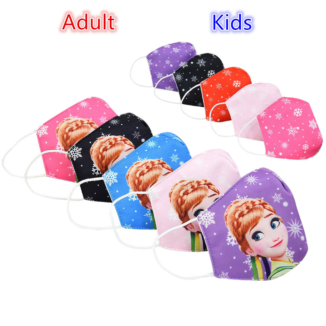 Adult Kids Dust Face Masks Anna Elsa Princess Anime Cosplay Fashion Mask Anti-pollen Protective Breathable Reusable Mouth Muffle