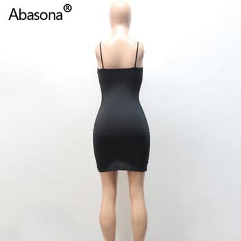 Abasona Sexy Black Bodycon Mini Dress Spaghetti Strap Stretch Summer Women 2020 Night Tight Dresses Party Ladies Casual Vestidos 10