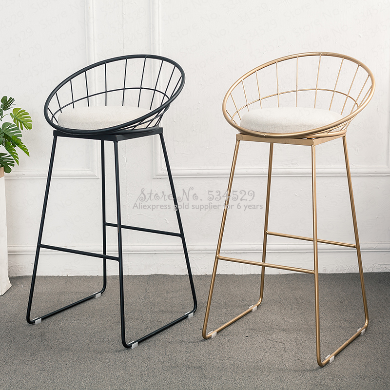 30%Nordic Bar Stool Wrought Iron Cashier High Stool Modern Minimalist Back Bar Chair Creative Personality Bar Chair
