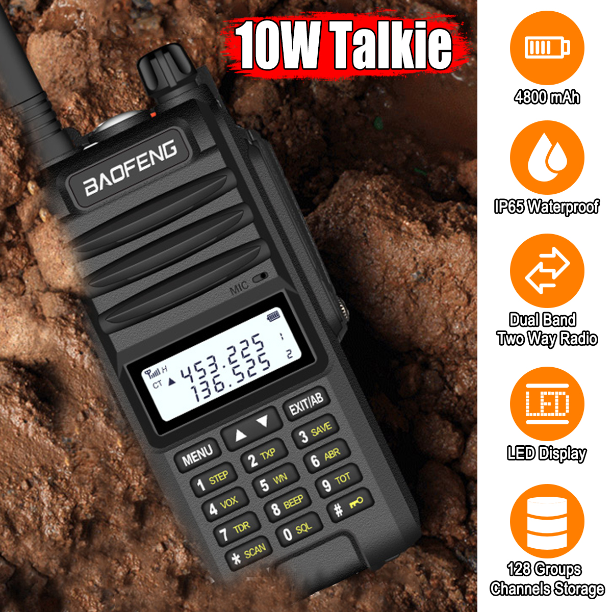 Walkie Talkie LED Display Professional BF-UVF10 Two Way Radio Comunicador HF Transceiver Radio Station 15km Talk Range