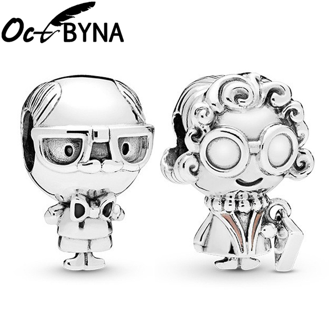 Octbyna Grandfather&Grandmother Charm bead Pendant Fits Pandora Bracelet Necklace Making For Women Men Jewelry Gift Dropshipping