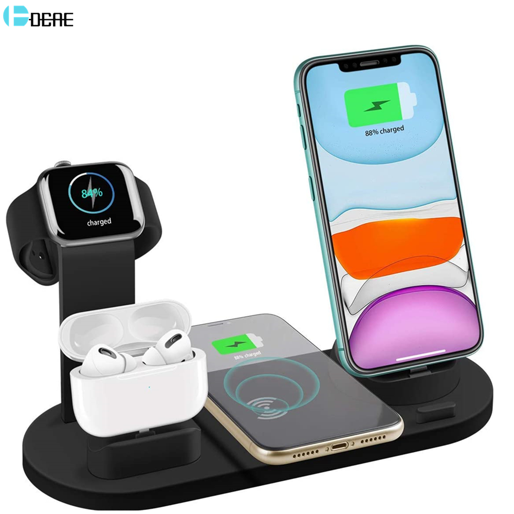 Dcae 4 In 1 10w Qi Wireless Charger Dock Station For Iphone