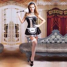 Frauen Sexy Nite Französisch Maid Kostüm Zimmer Service Cosplay Outfit Sexy Halloween Diener Mädchen Kostüme für Erwachsene Frauen 9729