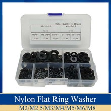 364Pcs M2/M2.5/M3/M4/M5/M6/M8 Black Nylon Flat Ring Plain Repair Washer Furniture Gasket Metric Assortment Kit with Box sale 364pcs set nylon material black nylon rubber flat ring repair washer gasket for metric m2 m8 wholesale quick delivery csv