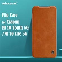For Xiaomi Mi 10 Lite 5G Mi 10 Youth 5G Flip Case Nillkin Qin Leather Card Pocket Wallet Flip Cover For Mi10 Lite 5G Phone Bags