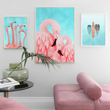 Watercolor flamingo feather Wall Art Print Canvas Painting Nordic Canvas Poster And Prints Wall Pictures For Living Room Decor watercolor leaf flamingo tassel hanging painting wall decor print