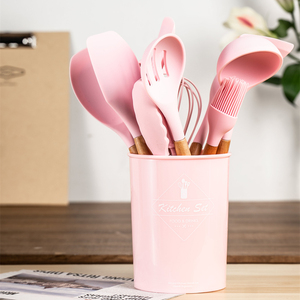 Image 3 - Silicone Kitchen Utensils Set 11 Pcs Wooden Cooking Utensils with Holder Spatula Ladle Spoons Shovel Non stick Cooking Tools Set