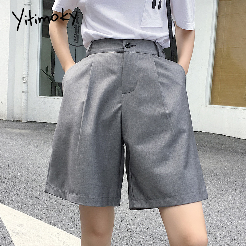 High Waist Shorts Black Women Summer 2020 Formal Solid Straight Plus Size 5XL Short Pants Fashion Women Korean Wide Leg Pant New