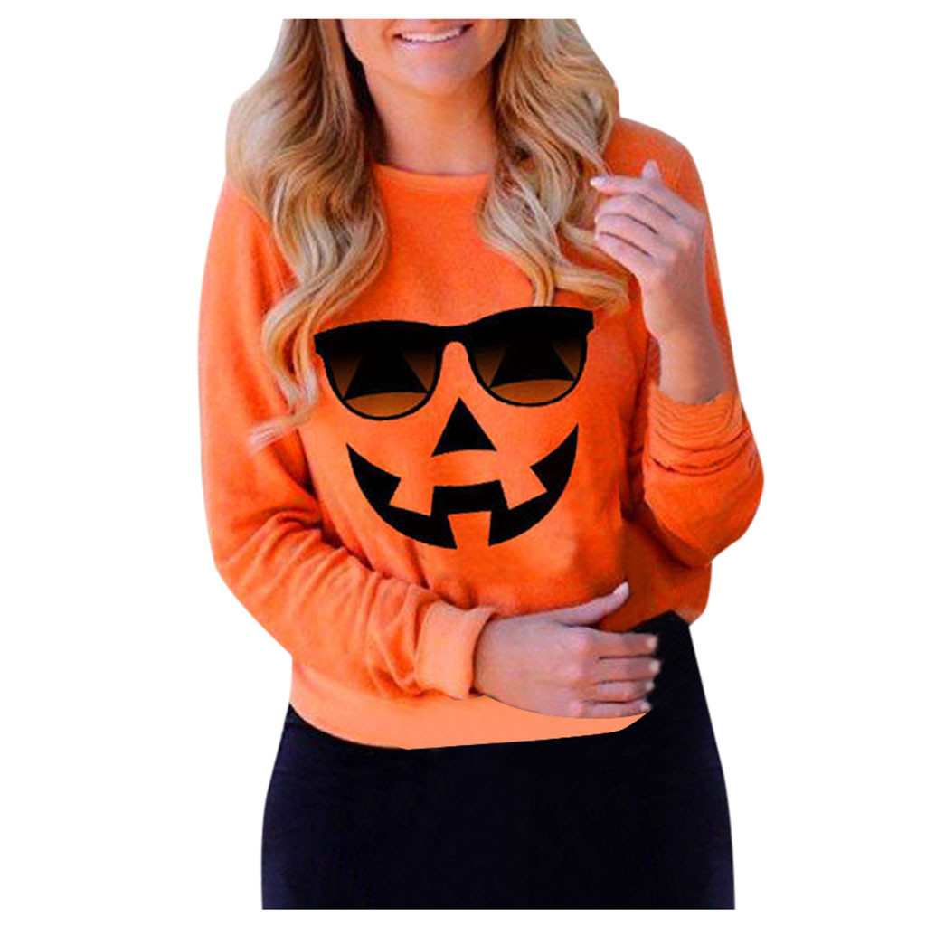 Womens Halloween Hoodies Long Sleeves Pumpkin Print Casual Drawstring Pullover Sweatshirt Shirt Top