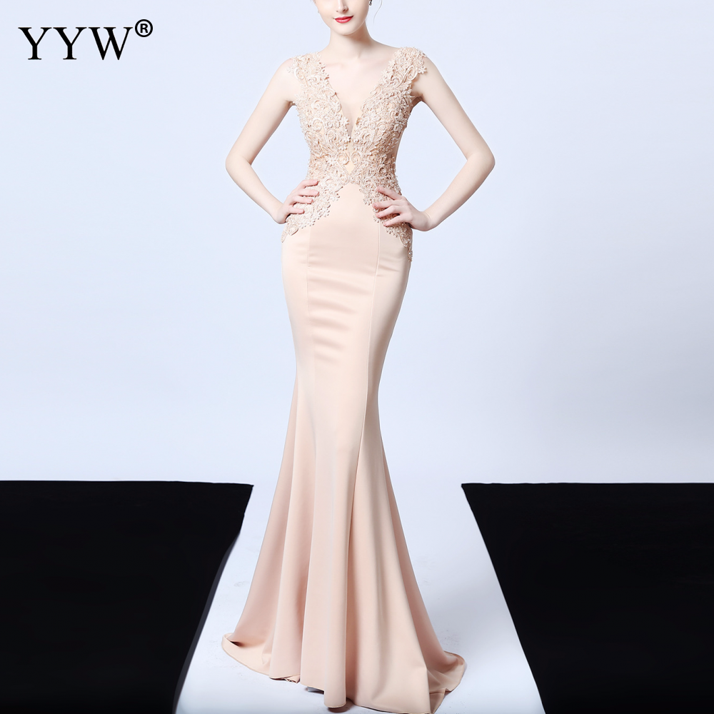 Image 2 - Sexy Deep V Neck Applique Evening Dress Women Mesh Backless  Mermaid Dress Sleeveless Elegant Long Party Dress Ladies Formal  GownEvening Dresses
