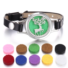 Aromatherapy Diffuser Bracelet Snowflake Elk Leather Locket Men Women Essential Oil Jewelry for Christmas Gift