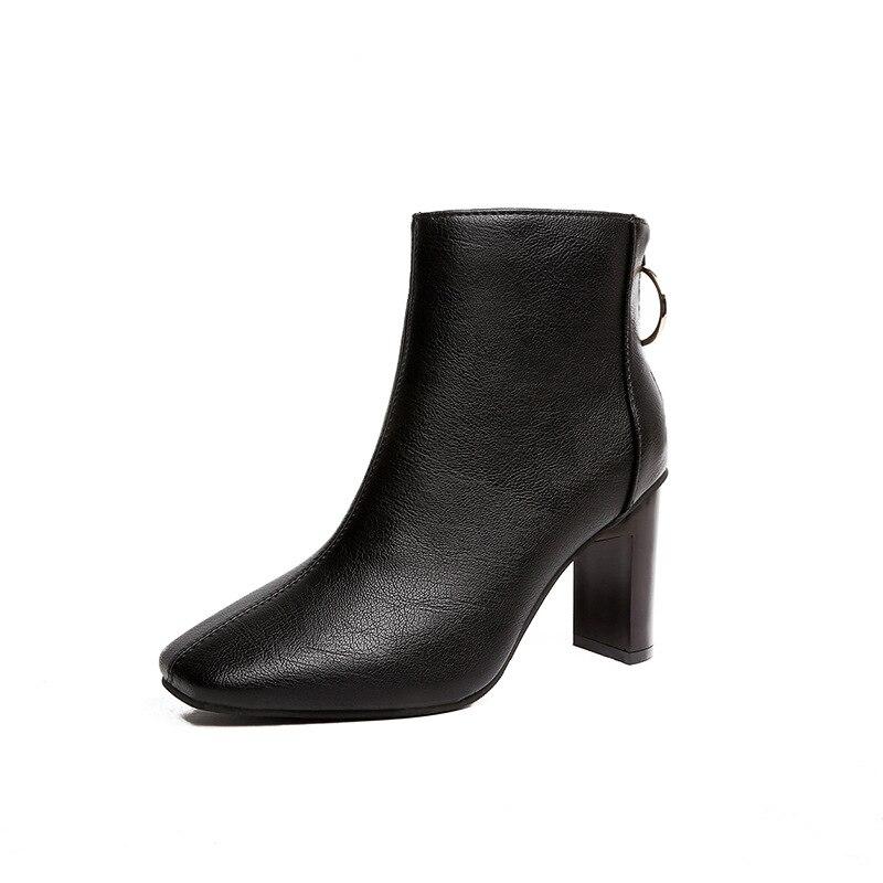 Женские ботинки на высоком квадратном каблуке, зимние элегантные ботильоны из искусственной кожи, на молнии, в английском стиле, 2019