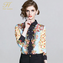 H Han Queen long sleeve women shirts plus size blouse floral