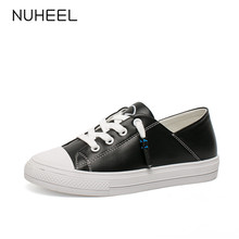 NUHEEL women's shoes spring and summer new flat bottom skate shoes wild solid color casual shoes women обувь женская