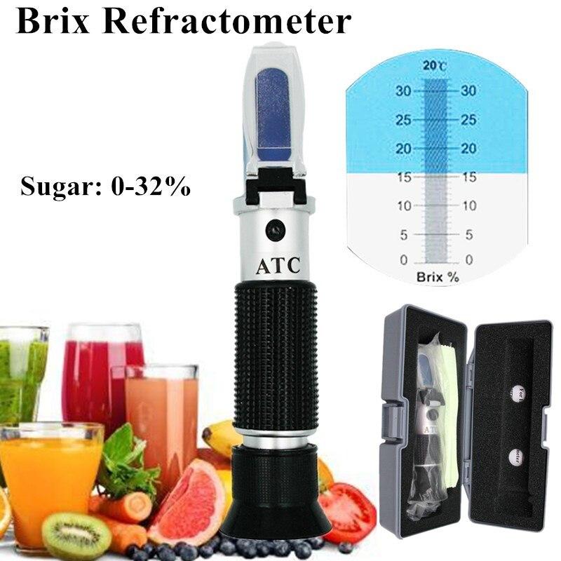Рефрактометр Brix 0 ~ 32%, Розничная коробка, оптический измеритель содержания сахара в пище, алкогольных напитков, ATC, ручной инструмент, скидка 30%|brix 0-32|brix refractometerbrix meter refractometer | АлиЭкспресс
