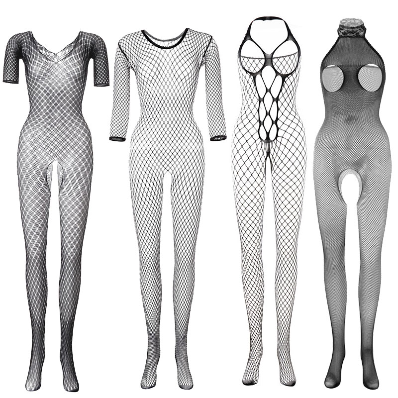 4 Style Sexy Costumes Body Suit Body Stockings Sex Erotic Open Crotch Teddy Lingerie Crotchless Baby Doll Fishnet Porno