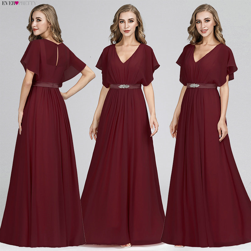Image 2 - Pink Evening Dresses Long Ever Pretty EZ07717 Elegant A line Chiffon Short Sleeve V neck Sash Beaded Evening Gown robe de soiree-in Evening Dresses from Weddings & Events