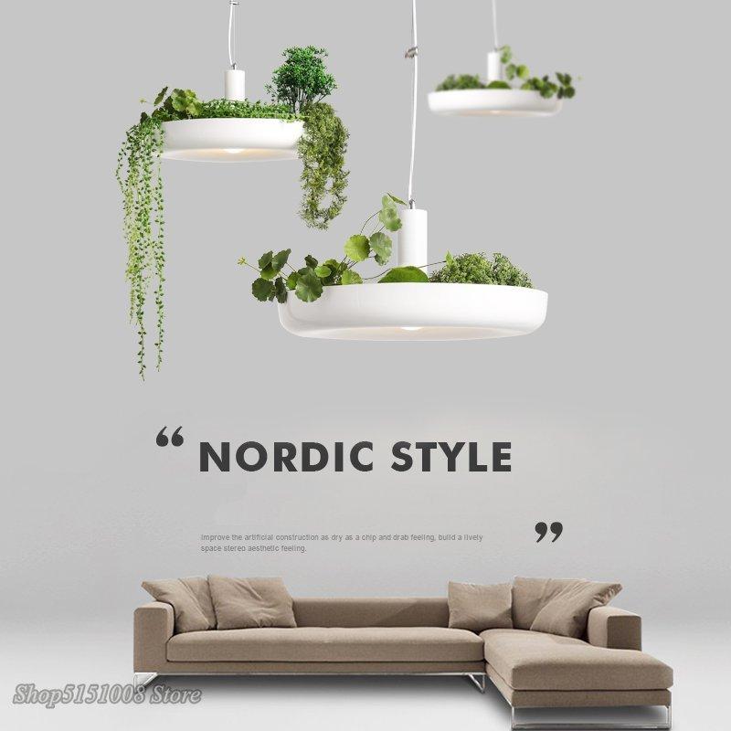 북유럽 식물 펜 던 트 조명 diy 하늘 정원 led 램프 꽃 냄비 교수형 램프 식당 식당 조명기구 홈 장식