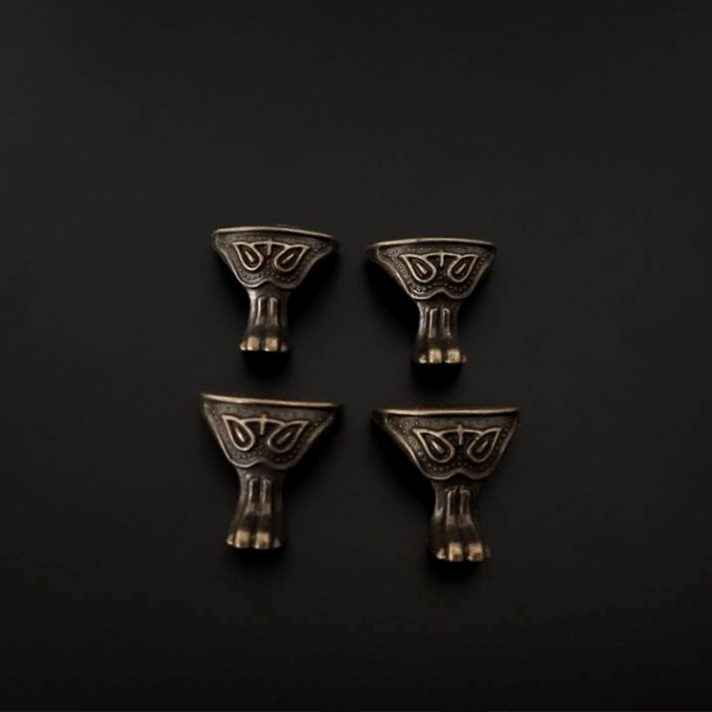 NEW 4 Pcs Antique Style Alloy Material Box Wood Case Decorative Feet Leg Corner Furniture Legs Decor Supplies