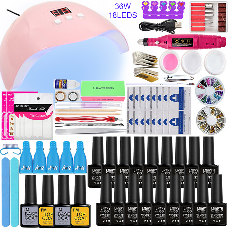 Nail Set 10/12/18Color Nail Gel Varnish Polish Manicure Set With 36W UV LED Lamp Electric Nail Drill Machine Nail Kit Tools