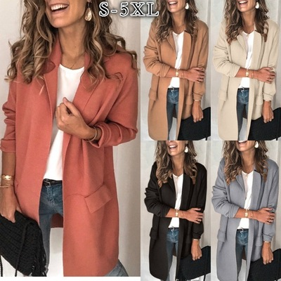 Plus Size S-3XL Women Autumn Winter Long Sleeve Slim Casual Blazers Ladies Business Elegant Solid Blazer Coats