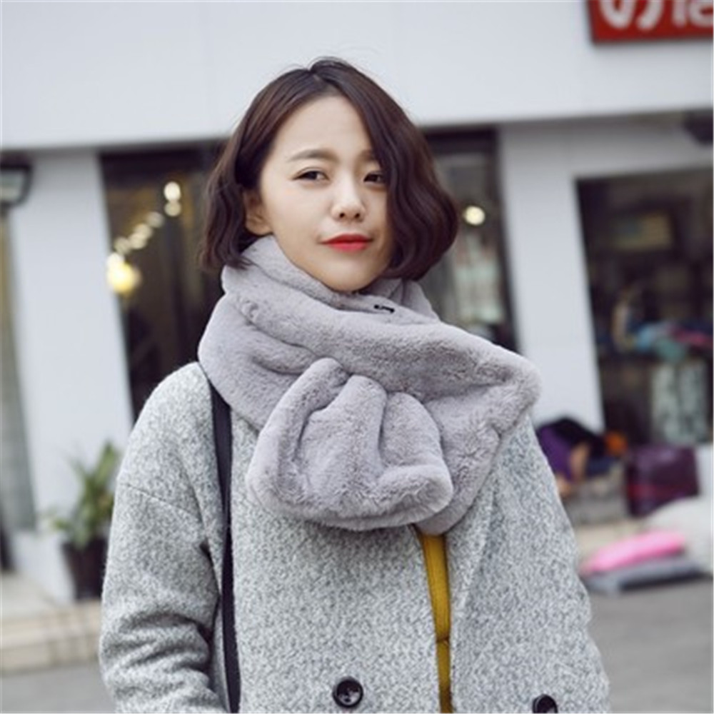 Korean Rabbit Hair Solid Cross Fall Winter Thick Wide 2019 New Women Scarf Shawl Wrap Cravat Rings Office Lady Accessories-XCC