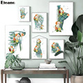Flowers on Hand and Feet Abstract Blue Human Bones Muscles Medicine Poster Anatomia Wall Art Decor Canvas Paintings for The Room