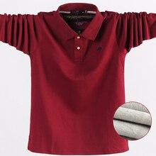 冬の秋の新メンズポロシャツカジュアル熱フリース男性のポロシャツ厚く暖かい5XL長袖ポロシャツ男性服2020