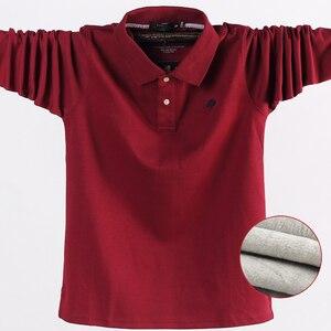 Image 1 - 겨울 가을 새로운 남성 폴로 셔츠 캐주얼 열 양털 남성 폴로 셔츠 두꺼운 따뜻한 5XL 긴 소매 폴로 셔츠 남성 의류 2020