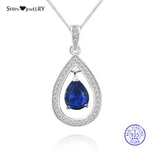 Женское ожерелье из серебра 100% пробы с сапфировым Изумрудом