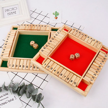 Shut The Box Dice Board Game Wooden Four Sided 10 Numbers Dice Game French Creative Toys Adult Children Family Party Game Set