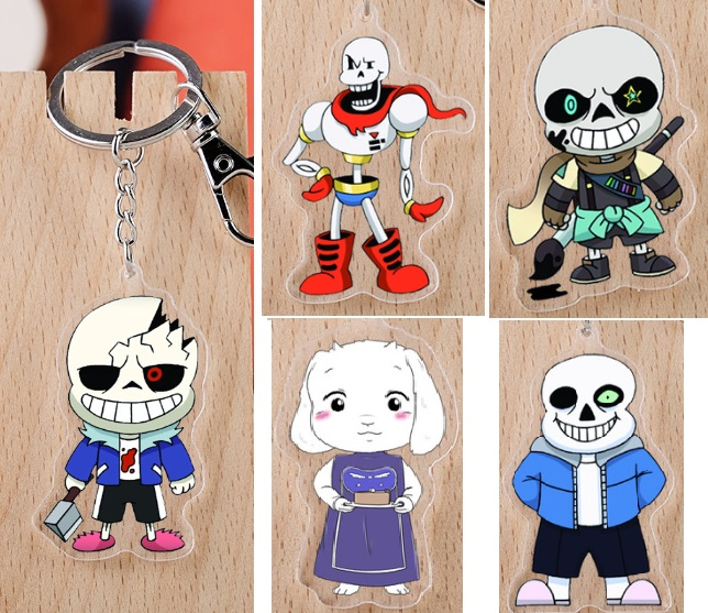 2019 New Arrival Undertale Game Japanese Anime Figure Acrylic Mobile Phone Charms Keychain Strap