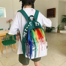 New Colorful Canvas Backpack for Women Fashion Multi Pocket Travel Backpacks Female School Bag Teenage Girls Book Mochilas