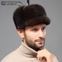 2019 Glaforny men's solid mink fur hats mink fur hats for winter fur hats for middle aged and people peaked cap outdoor warm hat