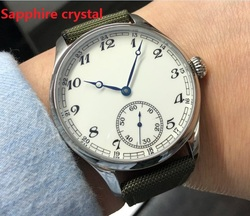 Sapphire crystal 44mm NO logo  white dial Asian 6497 Mechanical Hand Wind movement men's watch Mechanical watches GR52-20
