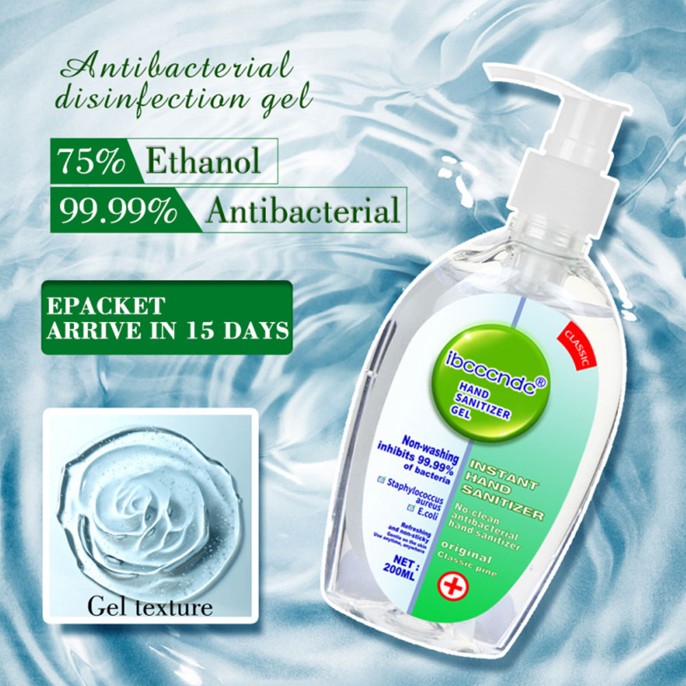 200ml Hand Sanitizer Antibacterial Moisturizing Disposable No Clean Hand Sanitizer Gel Alcohol Hand Wash Gel Antiseptic Handgel
