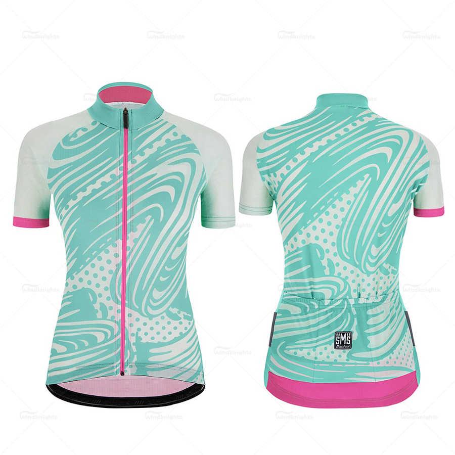 ชุดขี่จักรยานชุดผู้หญิงไหลลาย Giada POP ฤดูร้อนแขนสั้นจักรยานเสื้อผ้าชุด Roupa ciclismo feminina Anti-UV