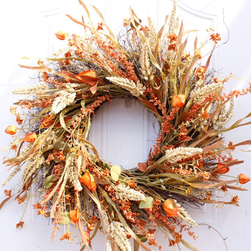 24 inch Fall Wreath Front Door Wreath Grain Wreath Harvest Gold Wheat Ears Circle Garland autumn wreath for Front Door Wedding W