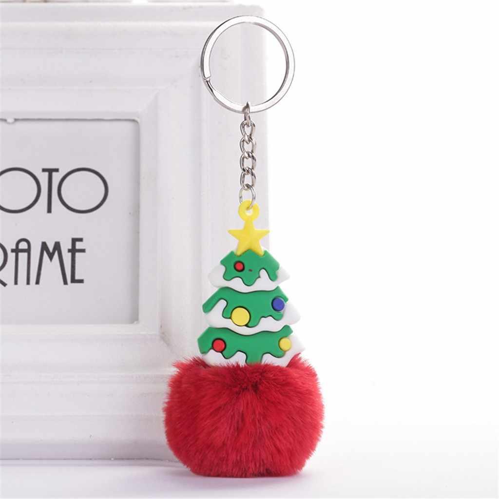 Natal Elk Bola Bulu Gantungan Kunci Merah Hitam Palsu Kelinci Pompom untuk Hias Diseduh Sendiri Membuat Perhiasan Mobil Gantungan Kunci Hiasan Temuan