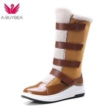 купить Women Mid-calf Boots Hook& Loop Round Toe Winter Warm Thick Fur Plush Ladies Shoes Black Pu Leather Female Snow Boots Size 43 по цене 1715.29 рублей