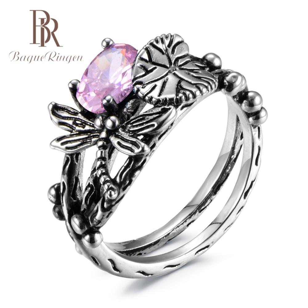 Bague Ringen Charms AAAA Zircon Cute Dragonfly 925 Sterling Silver Jewelry Rings For Women 7 Colors Christmas Fine Jewelry Gifts