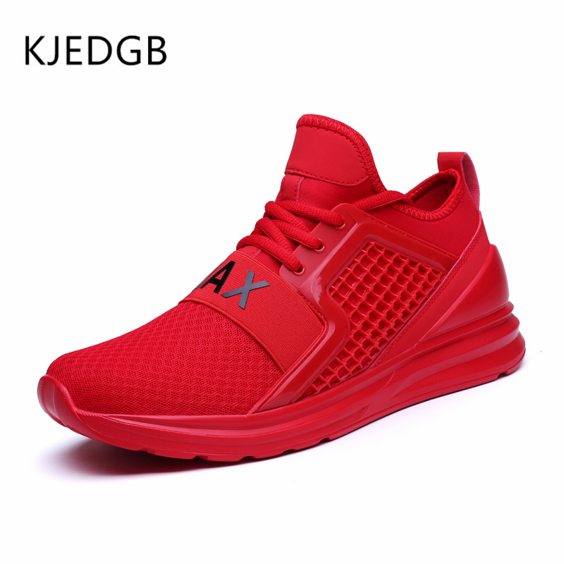 Image 2 - KJEDGB 2019 Breathable Mesh Men Sneakers Solid Black White Green Red Light Mens Casual Shoes size 39 47 Support Dropshipping-in Men's Casual Shoes from Shoes