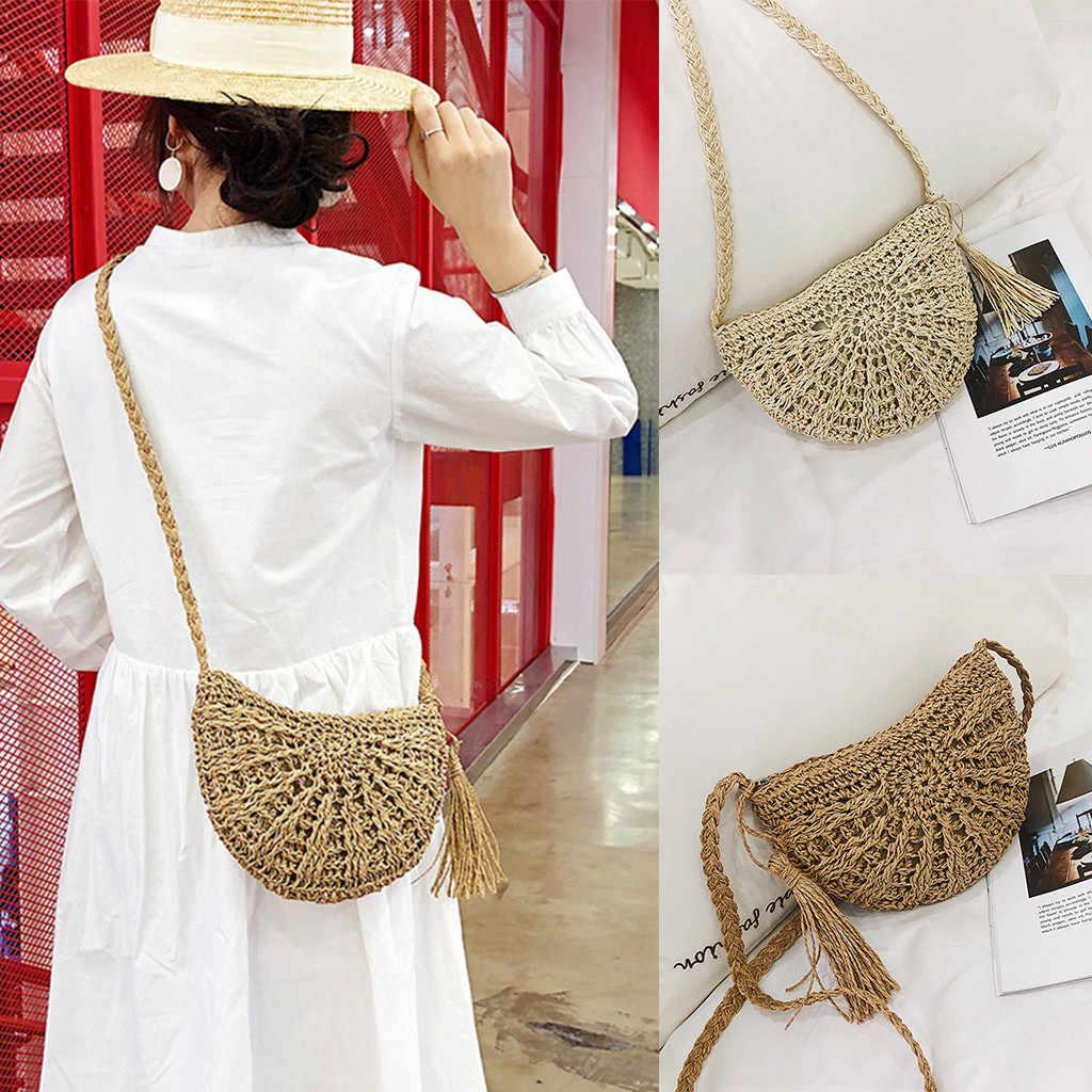 Frauen Handwoven Tasche Sommer Strand Großen Casual Totes Boho Kreis Bali Runde Rattan Stroh Crossbody Handtasche Schulter Tasche Urlaub